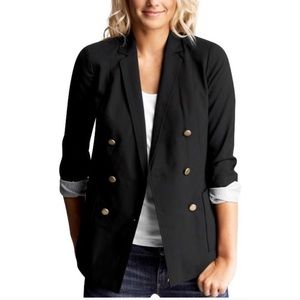 GAP Black Double Breasted Blazer w/ Gold Buttons 8